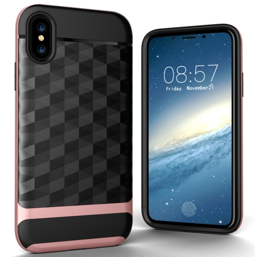 Buy For iPhone X 3D Diamond PC + TPU Combination Protective Case (Rose Gold) for $2.02 in SUNSKY store