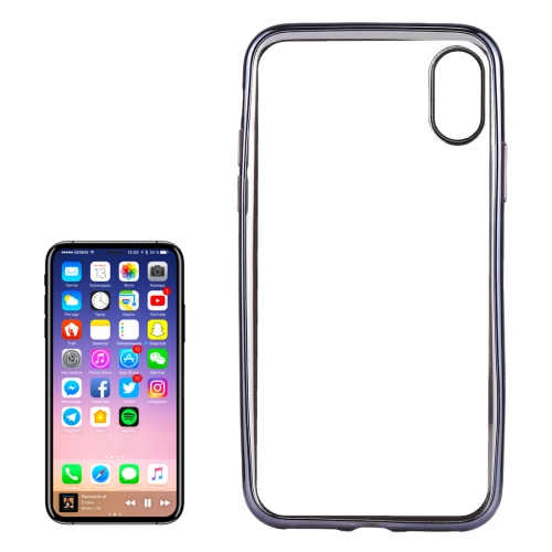 Buy For iPhone X Electroplating Side TPU Protective Back Cover Case, Grey for $1.17 in SUNSKY store