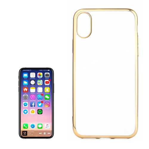 Buy For iPhone X Electroplating Side TPU Protective Back Cover Case, Gold for $1.27 in SUNSKY store
