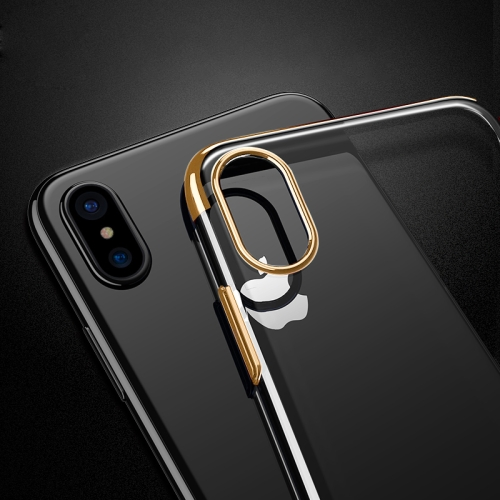 Buy For iPhone X Three Sections Electroplating Side TPU Protective Back Cover Case, Gold for $1.41 in SUNSKY store