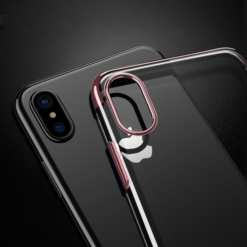 Buy For iPhone X Three Sections Electroplating Side TPU Protective Back Cover Case (Rose Gold) for $1.41 in SUNSKY store