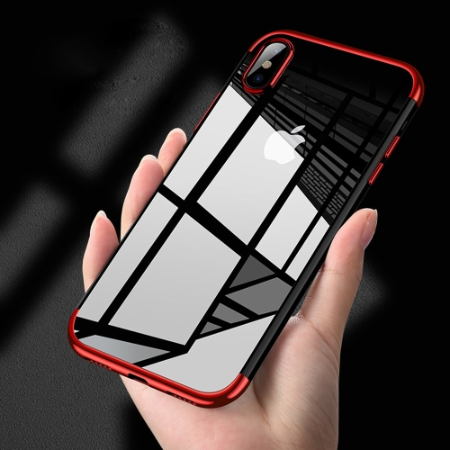 CAFELE For iPhone X Semi Electroplating Side TPU Protective Back Cover Case (Red) tpu shatter resistant back protective case for iphone x