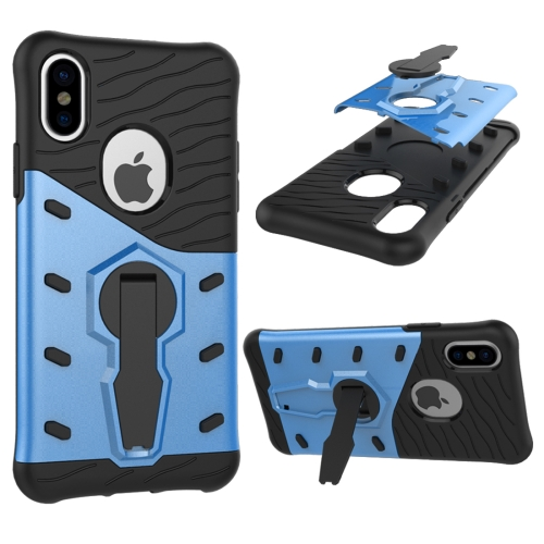 Buy For iPhone X Shock-Resistant 360 Degree Spin Sniper Hybrid Cover TPU + PC Combination Case with Holder, Blue for $2.56 in SUNSKY store