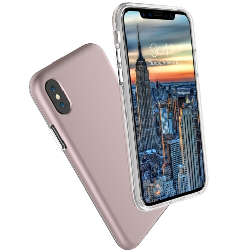 Buy For iPhone X PC + TPU Chrome Plated Press Button Protective Back Cover Case (Rose Gold) for $2.66 in SUNSKY store