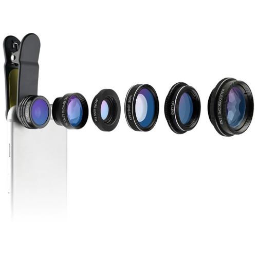 CYKE NG1 6 in 1 0.63X Wide Angle + 198 Degree Fisheye + 15X Macro + CPL + 2X Teleconverter + Six Prism Mobile Phone Lens Kit