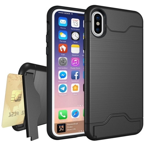 Buy For iPhone X Brushed Texture Protective Back Cover Case with Holder & Card Slot, Black for $2.65 in SUNSKY store