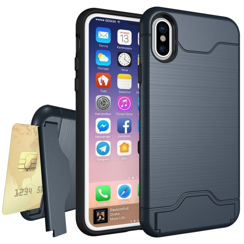 For iPhone X Brushed Texture Protective Back Cover Case with Holder & Card Slot, navy