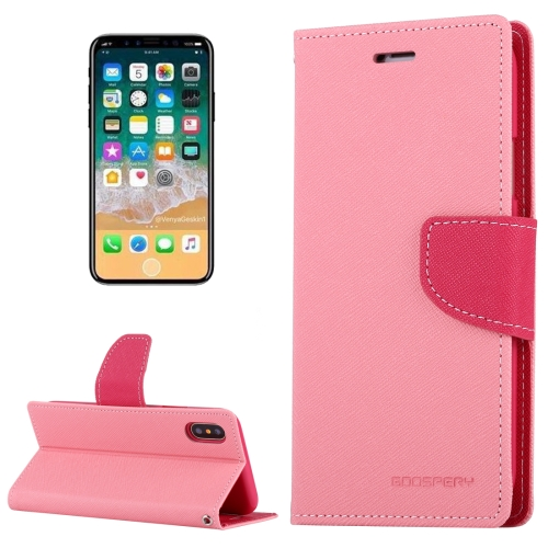 Buy MERCURY GOOSPERY FANCY DIARY for iPhone X Cross Texture Horizontal Flip Leather Case with Card Slots & Wallet & Holder, Pink for $3.40 in SUNSKY store