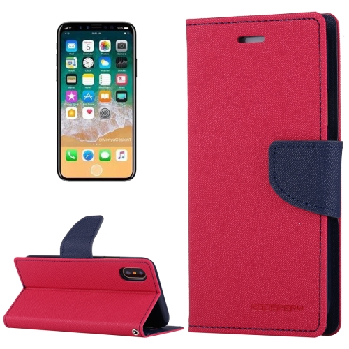 Buy MERCURY GOOSPERY FANCY DIARY for iPhone X Cross Texture Horizontal Flip Leather Case with Card Slots & Wallet & Holder, Magenta for $3.56 in SUNSKY store
