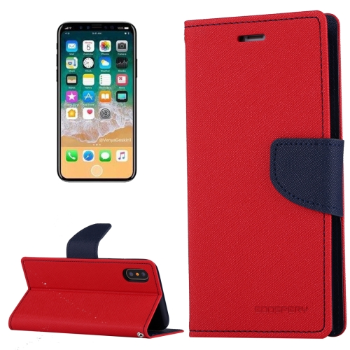 Buy MERCURY GOOSPERY FANCY DIARY for iPhone X Cross Texture Horizontal Flip Leather Case with Card Slots & Wallet & Holder, Red for $3.52 in SUNSKY store