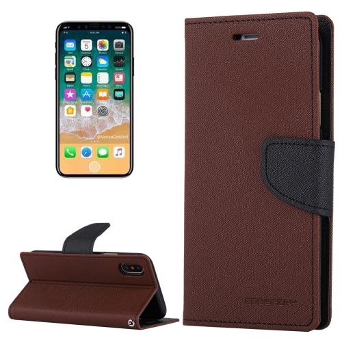 Buy MERCURY GOOSPERY FANCY DIARY for iPhone X Cross Texture Horizontal Flip Leather Case with Card Slots & Wallet & Holder, Brown for $3.40 in SUNSKY store