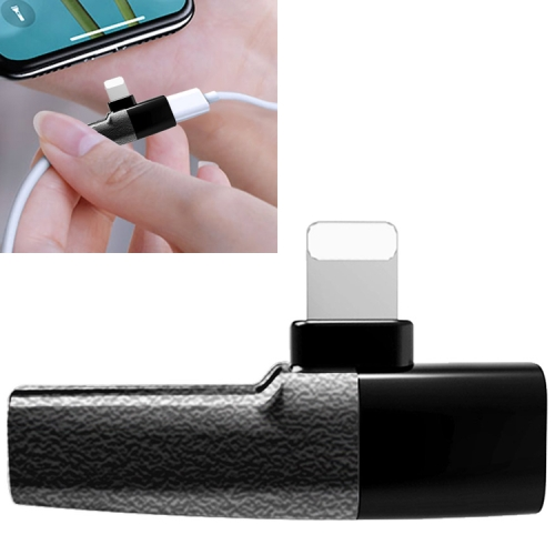 Q27 3 in 1 Music + Wired Control + Charging 8 Pin + 8 Pin to 3.5mm Jack Earphone Adapter(Black)