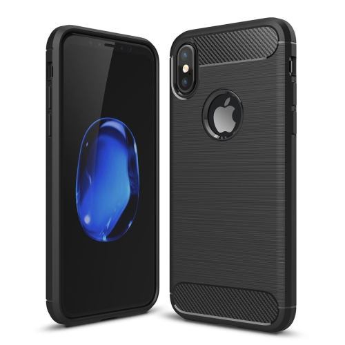 For iPhone X / XS Carbon Fiber TPU Brushed Texture Shockproof Protective Back Cover Case(Black)