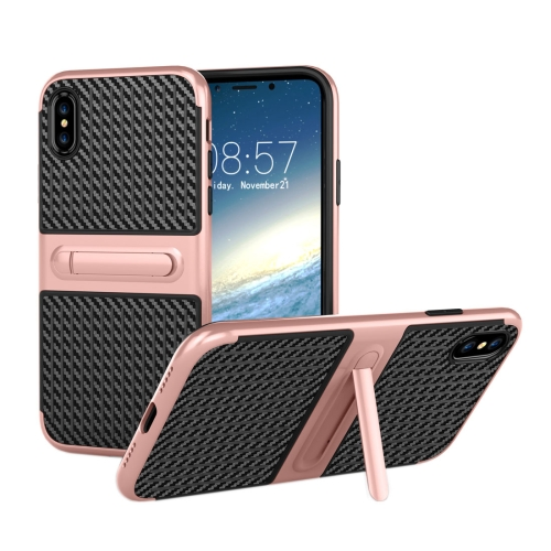 Buy For iPhone X Suitcase Style Stripe Texture TPU + PC Dropproof Protective Back Cover Case With Holder (Rose Gold) for $2.00 in SUNSKY store