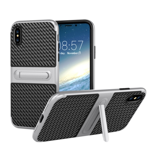 Buy For iPhone X Suitcase Style Stripe Texture TPU + PC Dropproof Protective Back Cover Case With Holder, Silver for $2.00 in SUNSKY store