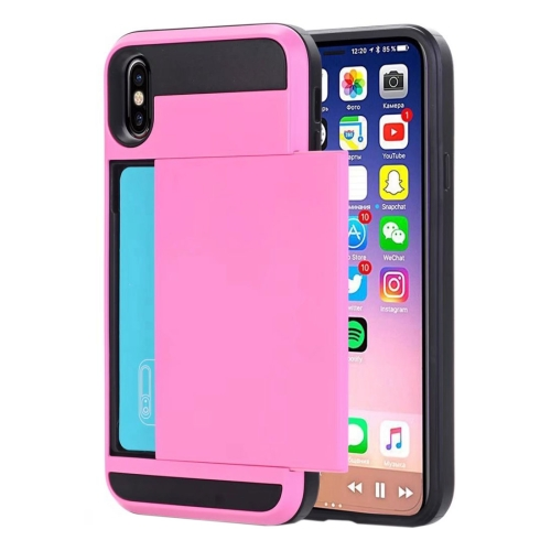 For iPhone X Detachable TPU + PC Protective Back Cover Case with Card Slot, Small Quantity Recommended Before iPhone X Launching, Pink