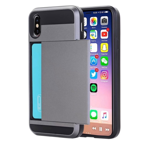 Buy For iPhone X Detachable TPU + PC Protective Back Cover Case with Card Slot, Small Quantity Recommended Before iPhone X Launching, Grey for $2.28 in SUNSKY store