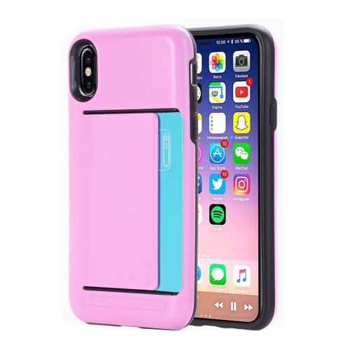 Buy For iPhone X Detachable TPU + PC Dropproof Protective Back Cover Case with Card Slot, Small Quantity Recommended Before iPhone X Launching, Pink for $2.01 in SUNSKY store