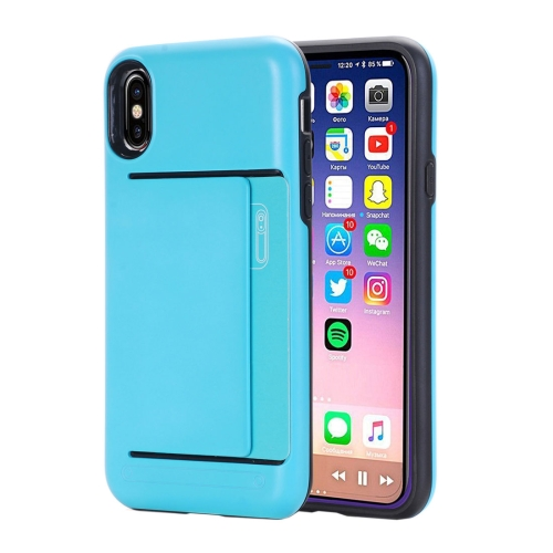 Buy For iPhone X Detachable TPU + PC Dropproof Protective Back Cover Case with Card Slot, Small Quantity Recommended Before iPhone X Launching, Blue for $2.01 in SUNSKY store