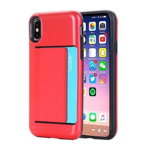 Buy For iPhone X Detachable TPU + PC Dropproof Protective Back Cover Case with Card Slot, Small Quantity Recommended Before iPhone X Launching, Red for $2.01 in SUNSKY store