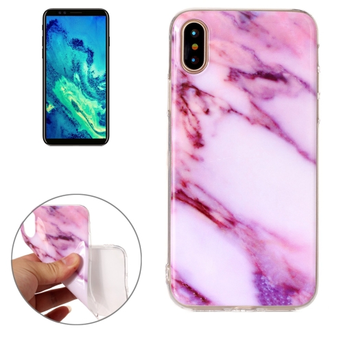 For iPhone X Pink Marble Pattern TPU Shockproof Protective Back Cover Case ultra thin leopard print pattern protective tpu back case for iphone 5 5s pink