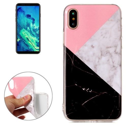 Buy For iPhone X Pink Black Color Matching Marble Pattern TPU Shockproof Protective Back Cover Case for $1.20 in SUNSKY store
