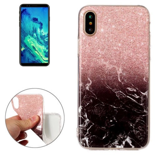 For iPhone X Black Gold Marble Pattern TPU Shockproof Protective Back Cover Case