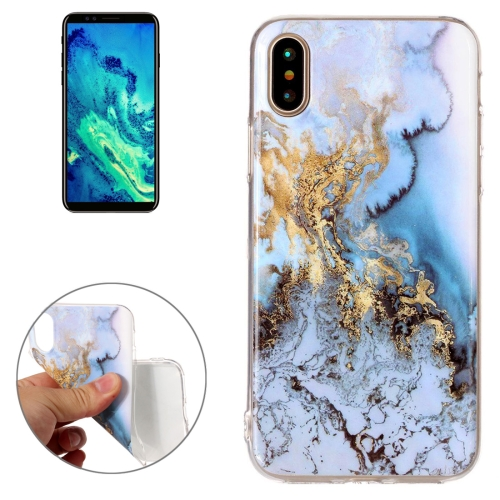 Buy For iPhone X Blue Marble Pattern TPU Shockproof Protective Back Cover Case for $1.27 in SUNSKY store