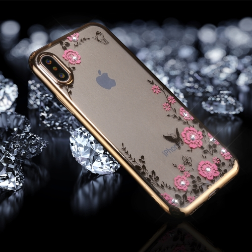Buy For iPhone X Flowers Pattern Diamond Encrusted Electroplating Soft TPU Protective Cover Case, Gold for $1.50 in SUNSKY store