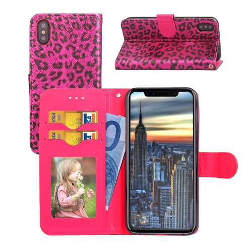 Buy For iPhone X Leopard Pattern Horizontal Flip Leather Case with Holder & Card Slots & Wallet & Photo Frame & Lanyard, Magenta for $2.90 in SUNSKY store