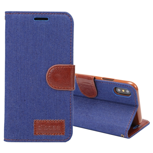 Buy Dibase For iPhone X Denim Texture PU + TPU Horizontal Flip Leather Case with Holder & Card Slots (Dark Blue) for $2.74 in SUNSKY store