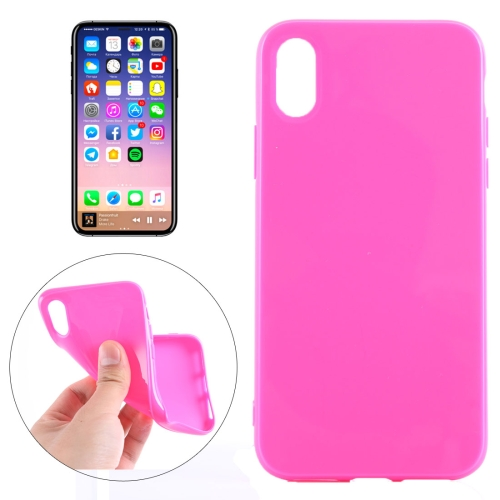Buy For iPhone X Solid Color Smooth Surface Soft TPU Protective Back Cover Case, Magenta for $1.04 in SUNSKY store