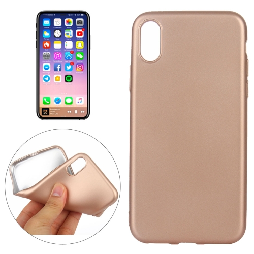 Buy For iPhone X Solid Color Metal Paint TPU Protective Back Cover Case, Gold for $1.17 in SUNSKY store