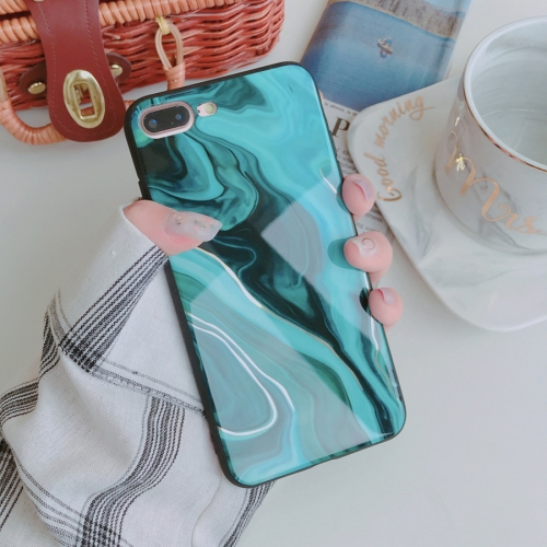 Color Marble Pattern Case for iPhone 8 Plus & 7 Plus(Green)