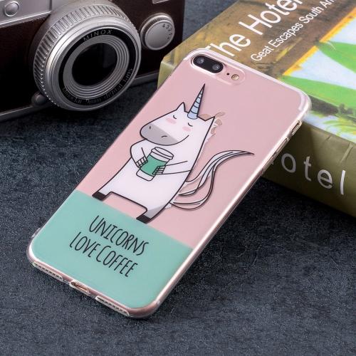 Unicorn Pattern Soft TPU Case for iPhone 8 Plus & 7 Plus star pattern tpu soft case for iphone 7 plus pink