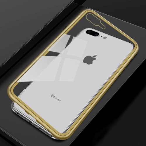Ultra Slim Magnetic Adsorption Metal Frame Tempered Glass Magnet Flip Case for iPhone 8 Plus & 7 Plus(Black + Gold) baseus little devil case for iphone 7 black