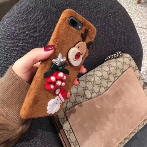 Christmas Series Santa Claus and Elk Pattern Flannel Protective Case for iPhone 8 Plus & 7 Plus (Brown)