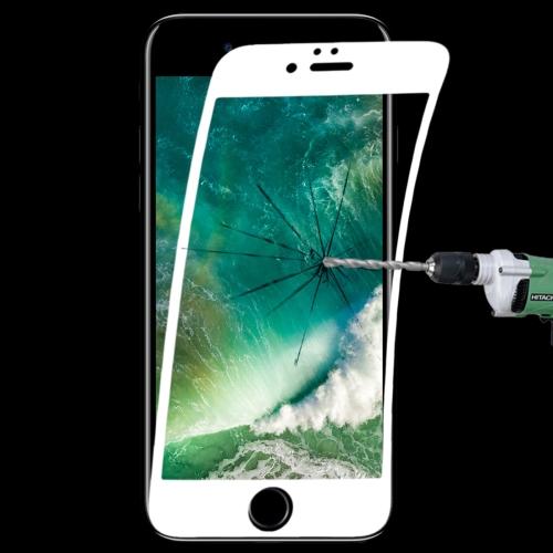 0.1mm 9H Full Screen Flexible Fiber Tempered Glass Film for iPhone 8 Plus & 7 Plus(White)