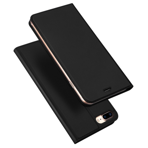 DUX DUCIS Skin Pro Series Horizontal Flip PU + TPU Leather Case for iPhone 8 Plus & 7 Plus , with Holder & Card Slots (Black)