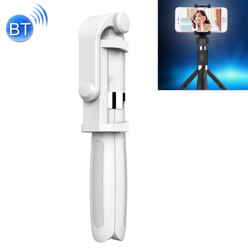 2 in 1 Foldable Bluetooth Shutter Remote Selfie Stick Tripod for iPhone and Android Phones(White)