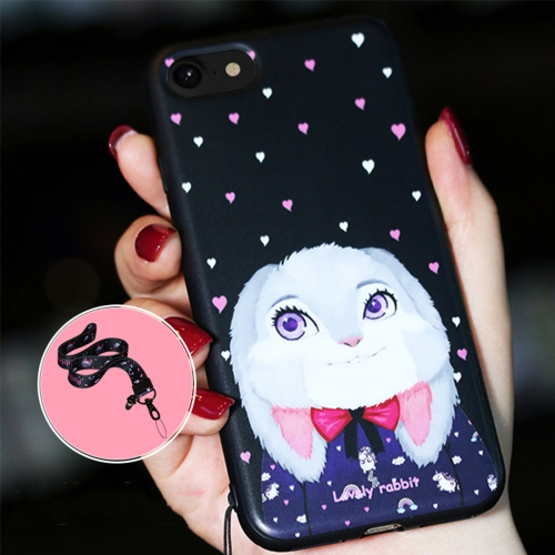 Buy AIQAA for iPhone 8 Plus & 7 Plus Animal Rabbit Pattern Soft TPU Protective Back Case Cover with Lanyard, Black for $3.27 in SUNSKY store