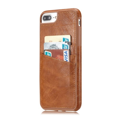 Buy M109 for iPhone 8 Plus & 7 Plus Retro PU Leather Texture Shockproof Protective Back Cover Case with 3 Card Slots, Brown for $3.68 in SUNSKY store