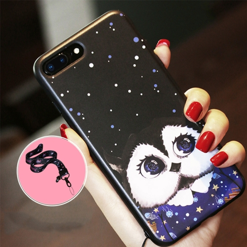 Buy AIQAA for iPhone 8 Plus & 7 Plus Cartoon Owl Pattern Soft TPU Protective Back Case Cover with Lanyard, Black for $3.27 in SUNSKY store