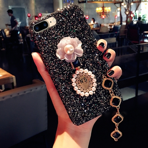 Buy For iPhone 8 Plus & 7 Plus Luxury Style Diamante Sequins Glitter Powder Protective Back Cover Case with Pendant, Black for $4.20 in SUNSKY store