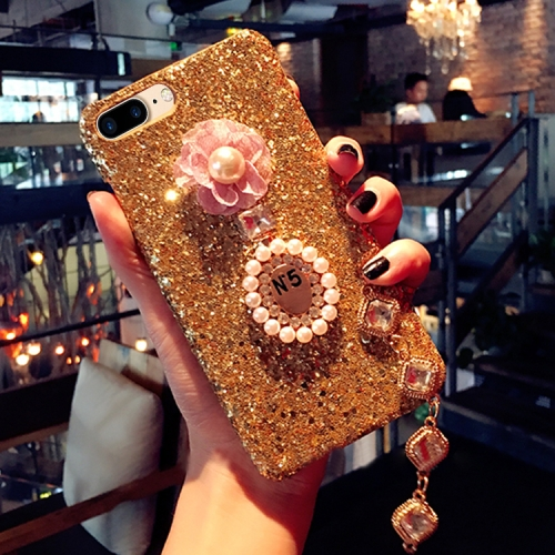 Buy For iPhone 8 Plus & 7 Plus Luxury Style Diamante Sequins Glitter Powder Protective Back Cover Case with Pendant, Gold for $4.20 in SUNSKY store