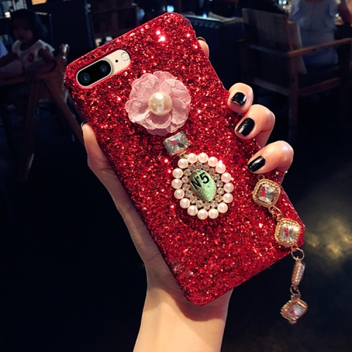 Buy For iPhone 8 Plus & 7 Plus Luxury Style Diamante Sequins Glitter Powder Protective Back Cover Case with Pendant, Red for $4.20 in SUNSKY store