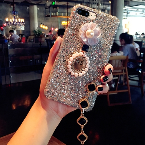Buy For iPhone 8 Plus & 7 Plus Luxury Style Diamante Sequins Glitter Powder Protective Back Cover Case with Pendant, Silver for $4.20 in SUNSKY store