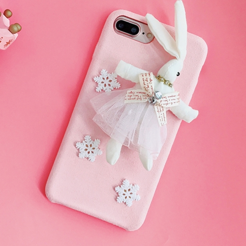 Buy For iPhone 8 Plus & 7 Plus Creative Cute Plush Cloth 3D Snowflake Plush Rabbit Protective Back Cover Case, Pink for $4.20 in SUNSKY store