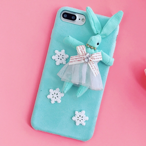 Buy For iPhone 8 Plus & 7 Plus Creative Cute Plush Cloth 3D Snowflake Plush Rabbit Protective Back Cover Case, Blue for $4.20 in SUNSKY store