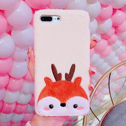5743d0a742c9ef For iPhone 8 Plus   7 Plus Creative Cute Deer Pattern Plush Protective Back  Cover Case